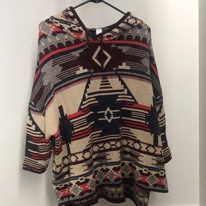 Tribal printed sweatshirt with hood